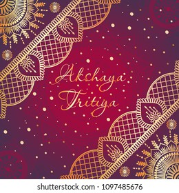 Indian Religious Festival Akshaya Tritiya Background Template Design with Beautiful Golden Floral Ornaments