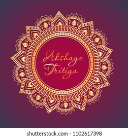 Indian Religious Festival Akshaya Tritiya Background Template Design with Floral Ornament - Akshaya Tritiya Background Design