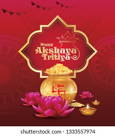 Indian Religious Festival Akshaya Tritiya Background Design Template with Decorative Ornaments Kalash, Lotus, Lamps