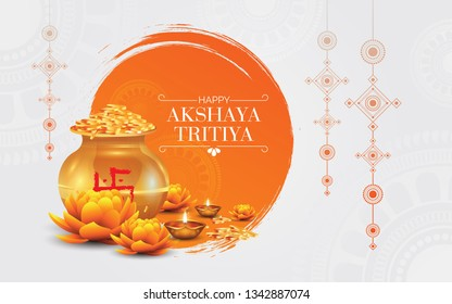 Indian Religious Festival Akshaya Tritiya Background Template Design Vector Illustration