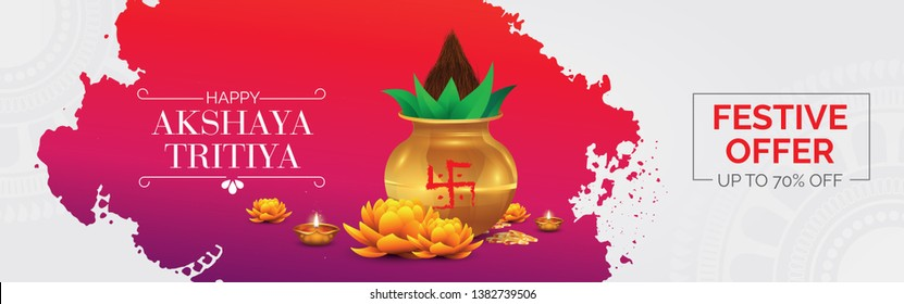 Indian Religious Festival Akshaya Tritiya Celebration Banner or Header with Abstract Background, Kalash, Coin, Lotus, Lamps