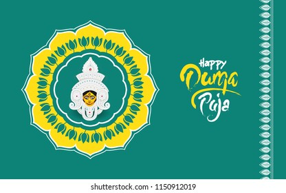 Indian Religious Festival Derga Puja Background Illustration with Round Floral design and Durga Face