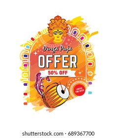 Indian Religious Festival Durga Puja Offer Template Design with Dirga Face, Dhak, Watercolor Background with 50% Discount Tag