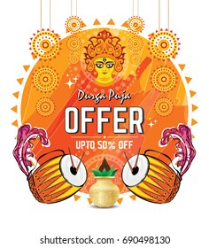Indian Religious Festival Durga Puja Offer Design Template with Dhak, Kalash, Durga Face, Vector Illustration
