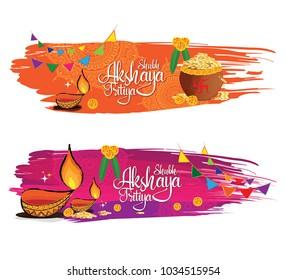 Indian Religious Festival Happy Akshaya Tritiya Festival Banner Design Set