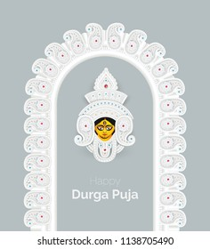 Indian Religious Festival Happy Durga Puja Template Design with Goddess Durga Face Illustration