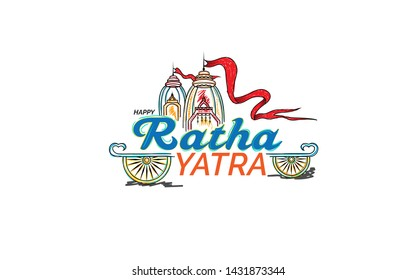 Indian Religious Festival Happy Ratha Yatra Background Design Template