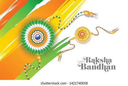 Indian Religious Festival Raksha Bandhan Background Template with  Creative Rakhi Illustration