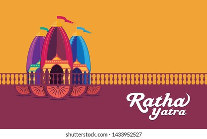Indian Religious Festival Ratha Yatra Background Template Design Vector Illustration - Rath Yatra Festival Background Template