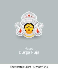Indian Religious Goddess Durga Face Vector Illustration