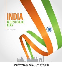 Indian Republic day 26 January with flag. Illustration of Happy Indian Republic day celebration poster or banner background.