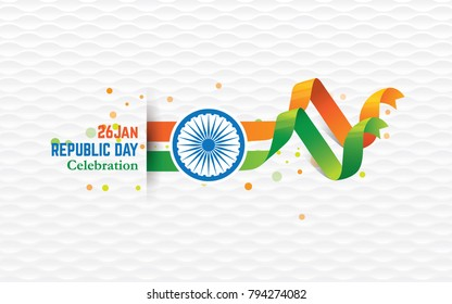 Indian Republic Day Background with Indian National Flag Vector Illustration