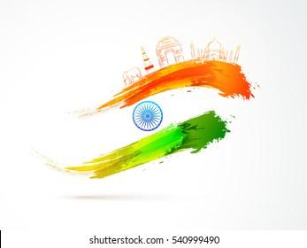 Indian Republic Day celebration background with National Flag colors brush stroke, Ashoka Wheel and Famous Monuments.