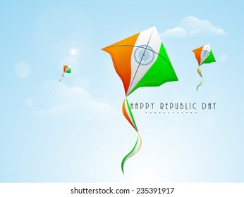 Indian Republic Day celebration with flying kites in national flag color on nature view background.