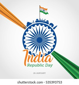 Indian Republic Day Celebration Vector Illustration.