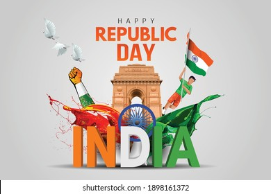 Indian republic Day celebrations with 26th January india 3d text and Ashoka Wheel, try color hand, man running with indian flag, india gate. vector illustration design