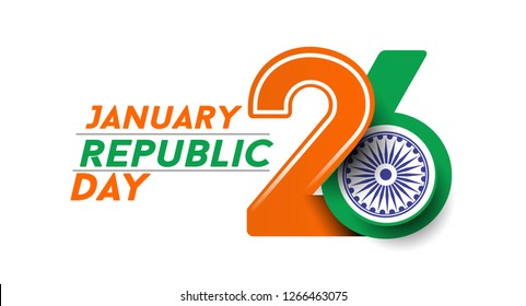 Indian Republic day concept with text 26 January. Vector Illustration.