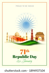 Indian Republic day concept with text 26 January.71th  republic day celebration .Vector illustration