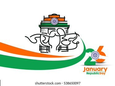 Indian Republic day concept with text Vande Mataram. Gateway of India illustration.