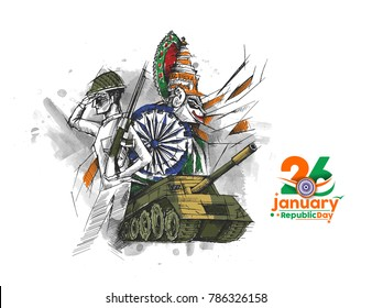Indian Republic day concept with text 26 January. concept of indian army