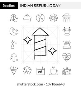 Indian Republic Day Hand Drawn Icon Pack For Designers And Developers. Icons Of Kite, Festival, Flying, India, Indian, Pot, Food, Day, Vector