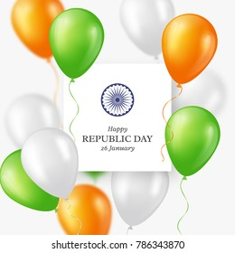 Indian Republic day holiday background. Celebration poster or banner, card. Three color balloons. Vector illustration.