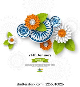 Indian Republic day holiday design. 3d wheels, flowers with leaves in traditional tricolor of Indian flag. Paper cut style. White background. Vector illustration.