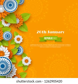 Indian Republic day holiday design. 3d wheels, flowers with leaves in traditional tricolor of Indian flag. Paper cut style. Orange background. Vector illustration.