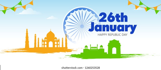 Indian Republic day poster, banner, with text 26 january - Vector