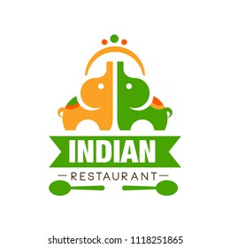 Indian restaurant logo design, authentic traditional continental food label can be used for cafe, bar, restaurant, menu vector Illustration