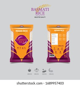 Indian Rice Packaging for Basmati Rice Products Organic and Background Template.