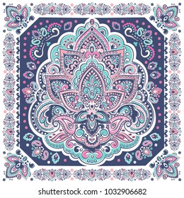 Indian rug paisley lotus pattern. Ethnic Mandala towel, yoga mat