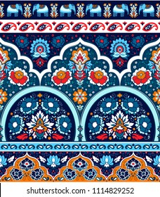 Indian rug paisley ornament pattern. Ethnic Mandala towel, elephant yoga mat. Vector Henna tattoo style. Can be used for textile, greeting business card background, phone case print