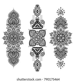 Indian rug paisley ornament pattern. Ethnic Mandala towel, yoga mat. Vector Henna tattoo style. Can be used for textile, greeting business card background, coloring book, phone case print