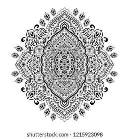 Indian rug tribal ornament pattern. Aztec towel, yoga mat. Vector lace Henna tattoo style. Can be used for textile, greeting business card background, phone case print