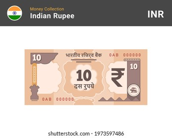 Indian rupee banknote. 10 bill paper money. Ten INR cash. The official currency of India. Flat style. Simple minimal design. Vector illustration.