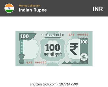 Indian rupee banknote. 100 bill paper money. One hundred INR cash. The official currency of India. Flat style. Simple minimal design. Vector illustration.