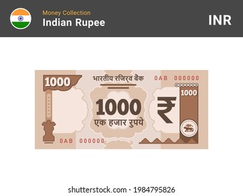 Indian rupee banknote. 1000 bill paper money. One thousand INR cash. The official currency of India. Flat style. Simple minimal design. Vector illustration.