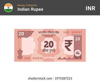Indian rupee banknote. 20 bill paper money. Twenty INR cash. The official currency of India. Flat style. Simple minimal design. Vector illustration.