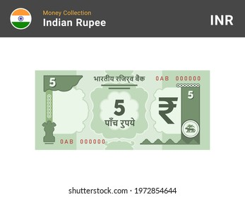 Indian rupee banknote. 5 bill paper money. Five INR cash. The official currency of India. Flat style. Simple minimal design. Vector illustration.