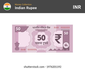 Indian rupee banknote. 50 bill paper money. Fifty INR cash. The official currency of India. Flat style. Simple minimal design. Vector illustration.