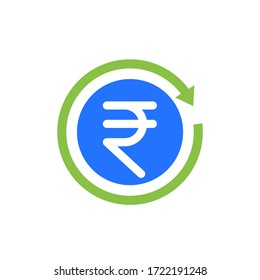 indian rupee cashback icon, vector
