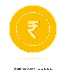 Indian rupee coin isolated on white background. INR yellow gold coin. India metal money. Actual cartoon vector illustration.