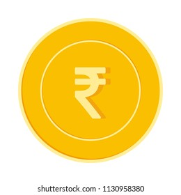 Indian rupee coin isolated on white background. INR yellow gold coin. India metal money. Worthy cartoon vector illustration.