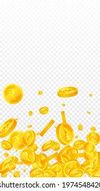 Indian rupee coins falling. Precious scattered INR coins. India money. Extra jackpot, wealth or success concept. Vector illustration.