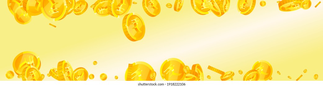 Indian rupee coins falling. Shapely scattered INR coins. India money. Artistic jackpot, wealth or success concept. Vector illustration.