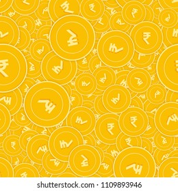 Indian rupee coins seamless pattern. Fabulous scattered INR coins. Big win or success concept. India random shadow money pattern. Coin tile vector illustration.