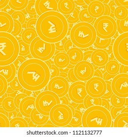 Indian rupee coins seamless pattern. Extraordinary scattered INR coins. Big win or success concept. India random flat money pattern. Coin tile vector illustration.
