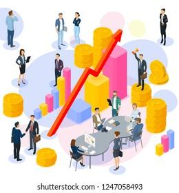 Indian Rupee  flat design vector  international business team work concept workflow management  investor growing  money abstract.