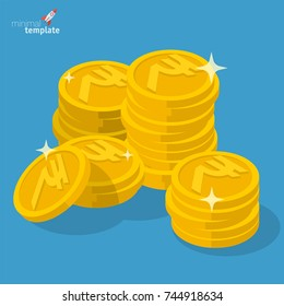 Indian rupee gold coin stack flat design financial, banking, payment and savings vector thin line money icon template.